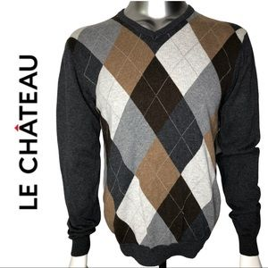 Le Chateau Long Sleeve Argyle Sweater Grey Brown